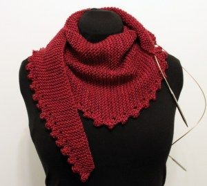 Free pattern for an easy peasy shawlette 400 meters aran weight yarn 6mm needles K5 times into next stitch = K into front, back, front, back, front of next stitch Pass first 4 stitches over 5th = insert left needle into 4th stitch on right needle, lift over 5th st, repeat with 3rd, 2nd and 1st st Pattern CO 5 stitches Row 1: knit Row 2: S1, K to last 2 sts, YO, K1, K5 times into next st Row 3: K5, pass first 4 sts over 5th st, K to end Row 4: S1, K to end Row 5: K to end Row ...