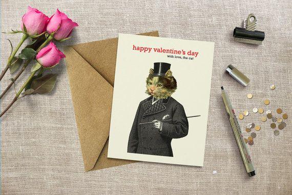 Funny valentine's day card, cat valentine's, card for girlfriend, card for boyfriend, card from cat, blank inside, handmade greeting card