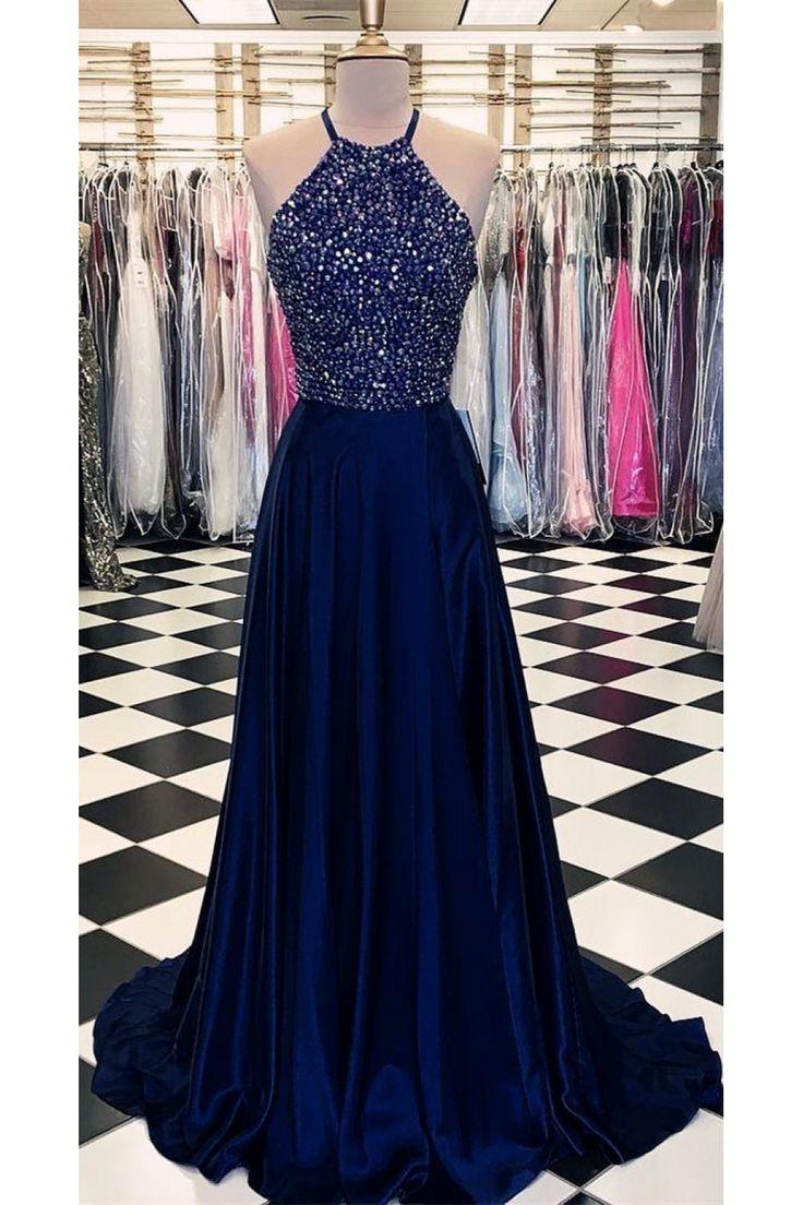 A-Line Halter Beaded Long Prom Dresses Formal Evening Dresses 601278
