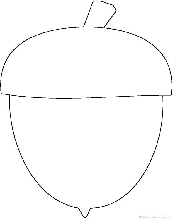 Картинка раскраска желудь для детей