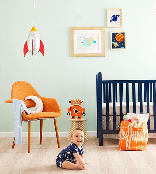 Out of this world! Rocket-themed #nursery décor will expand your tot's imagination. #babygirl #carouseldesigns