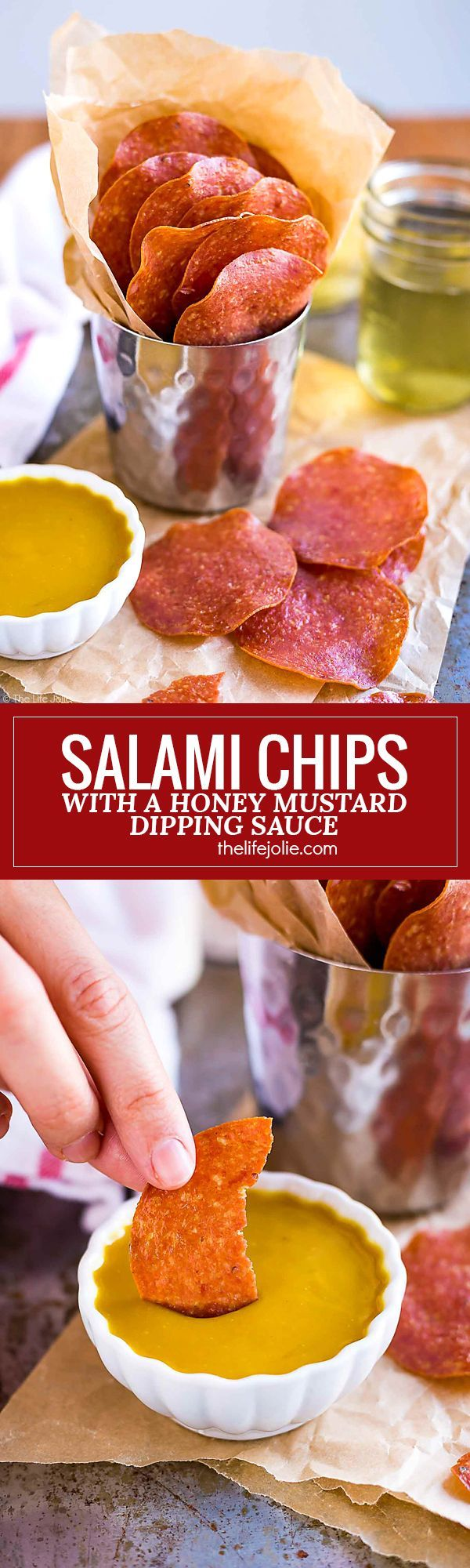 These Salami Chips are a seriously addictive appetizer recipe! They're super easy snacks to make and taste even better with a Honey Mustard dipping sauce. This is the perfect food to bring to parties and game day gatherings!