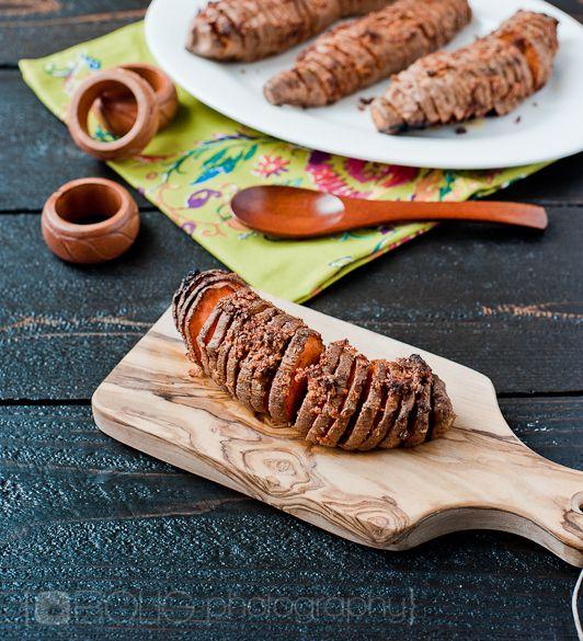 Hasselback Sweet Potatoes with Crispy Garlic: Paleo Side Dish