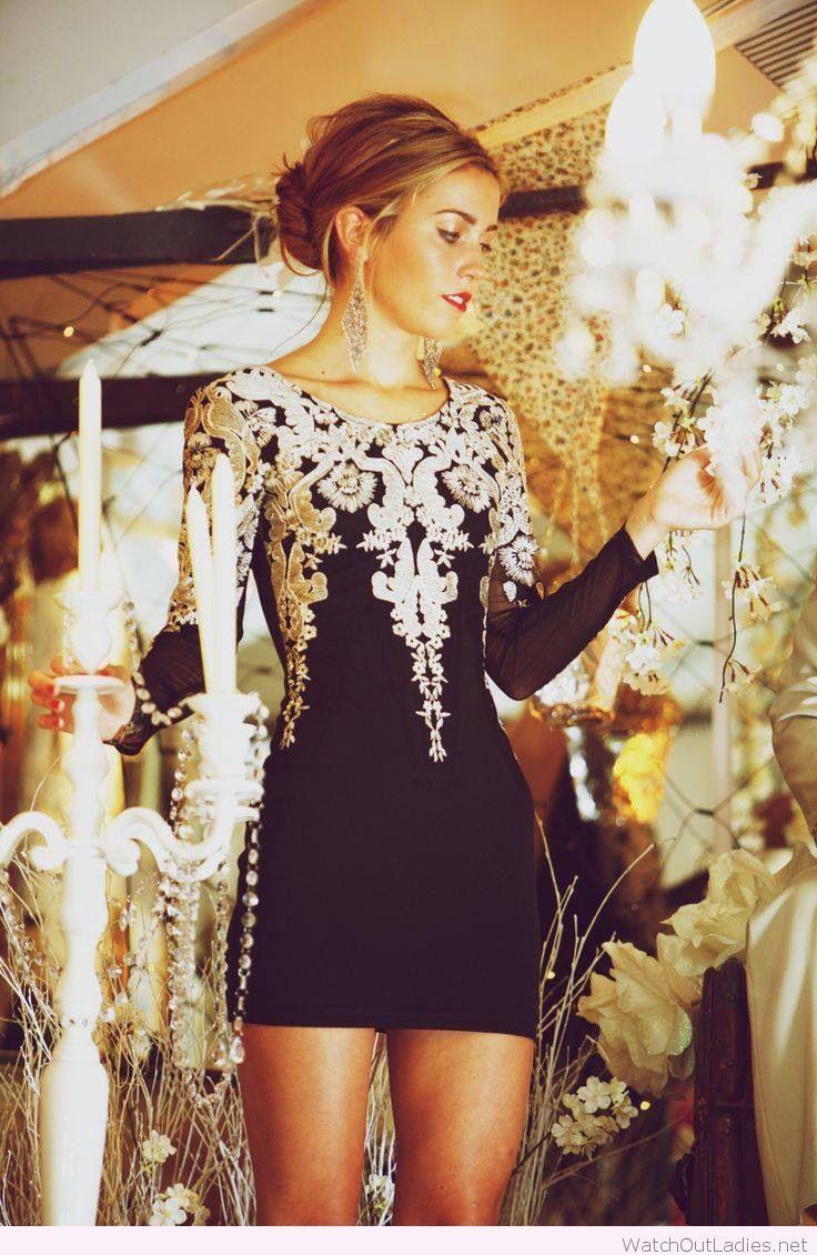 Metallic embroidery tight dress design