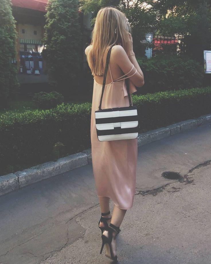 #slip #dress G O L D R O S E  #maisonraquette #slipdress #stripedbag #ootd #raquette #rosequartz