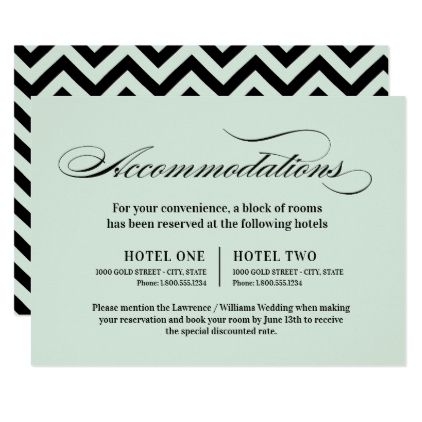 Elegantly Classic Green Mint | Accommodations Card - invitations personalize custom special event invitation idea style party card cards