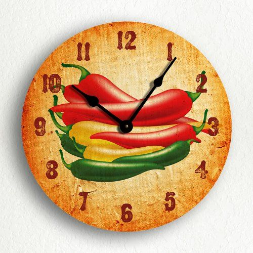 """Southwestern Chili Peppers 6"""" Silent Wall Clock (Includes Desk/Table Stand) Classical Creations http://www.amazon.com/dp/B003M55PVO/ref=cm_sw_r_pi_dp_Y5Dxvb00KEPFQ"""