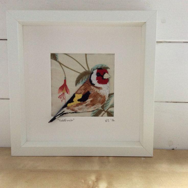 Hand Embroidered Goldfinch. Irish Garden Bird series. Violet Shirran. www.violetshirran.com