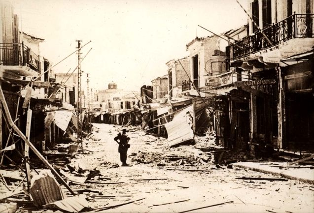 Canea, Crete, The city in ruins after being conquered by the Germans