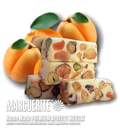 Apricot Pistachio Nougat A taste of apricot syrup and dried apricot fruits with roasted pistachio will leave you flabbergasted www.nougatworld.net 081381122228