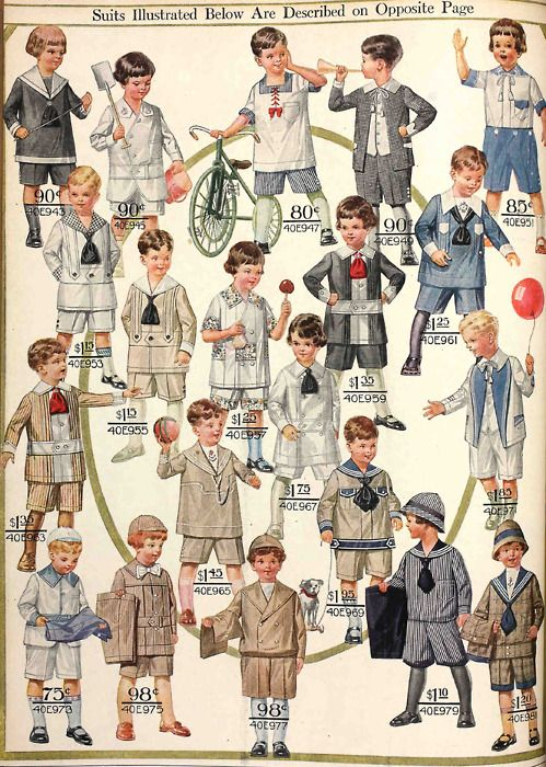 A great page of suits for little boys from the Spring 1916 Sears catalog.