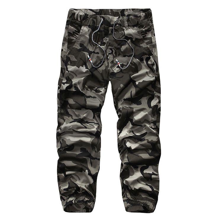 2016 Mens Jogger Autumn Pencil Harem Pants Men Camouflage Military Elastic Pants Loose Comfortable Cargo Trousers Camo Joggers