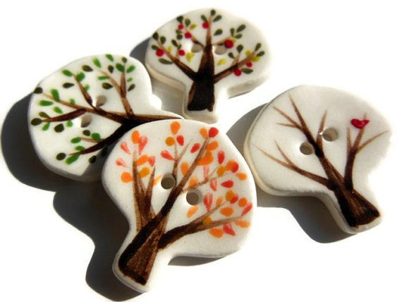 Set of 4 Seasonal Tree Ceramic Buttons, Family Tree Button, Novelty Spring, Summer, Fall, Winter Tree Sewing Buttons, Genealogy Buttons