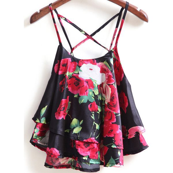 SheIn(sheinside) Black Spaghetti Strap Rose Print Cami Top ($13) ❤ liked on Polyvore