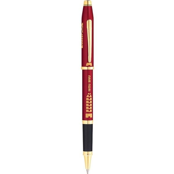 CROSS Iron Man 23ct gold-plated ballpoint pen (£95) ❤ liked on Polyvore featuring home, home decor, office accessories, writing pens, gold plated pen, gold plating pen, red pens and cross ball point pen