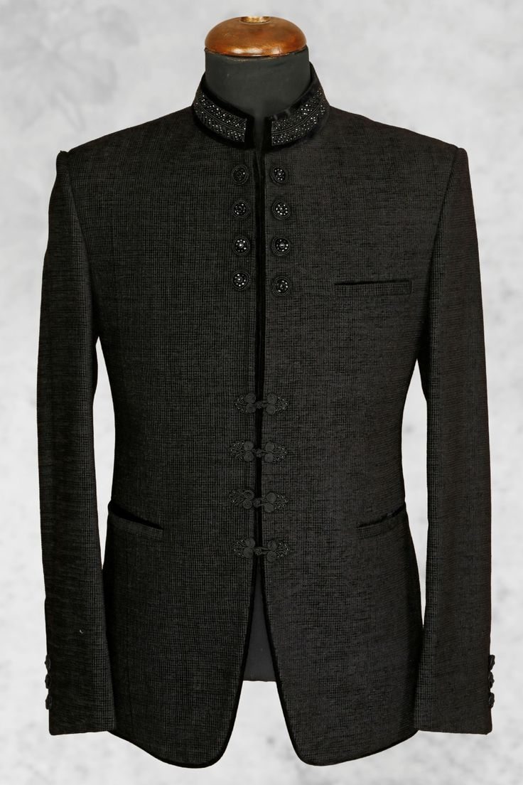 #Black admirable #jute suit with bandhgala collar-ST503