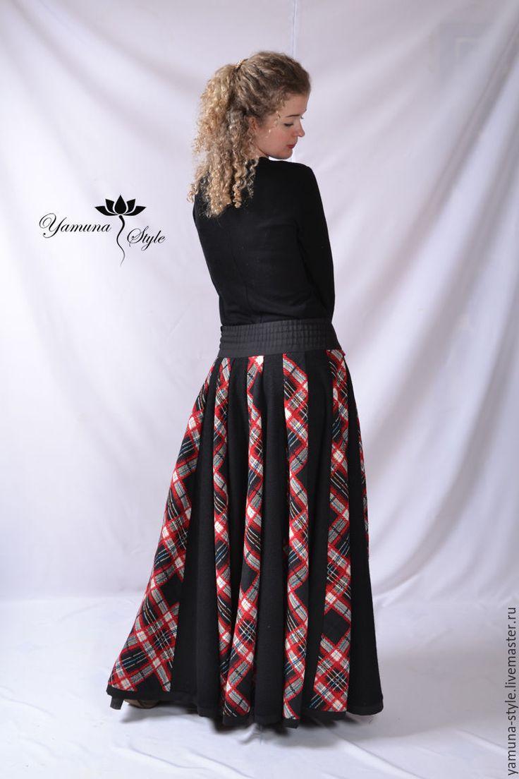 Купить Юбка зимняя шерстяная «18-клинка черно-красная». - черный, в клеточку, юбка