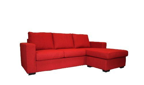 Modern contemporary red linen fabric sectional sofa with for Amazon sectional sofa with chaise