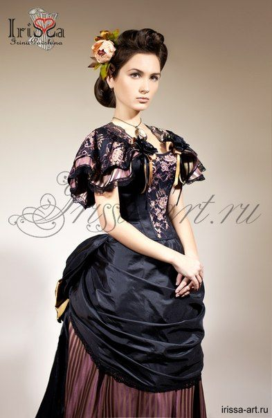 Reproduction bustle gown beautiful black and rose blush pink bustle Victorian type fancy gown. I w at to have a place to wear this.