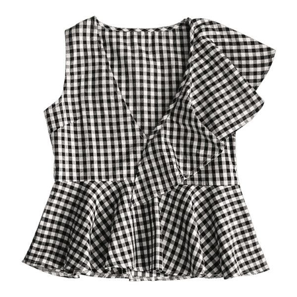 Sleeveless Plaid Ruffle Top ($19) ❤ liked on Polyvore featuring tops, flounce top, plaid top, frilly tops, no sleeve tops and ruffle trim top