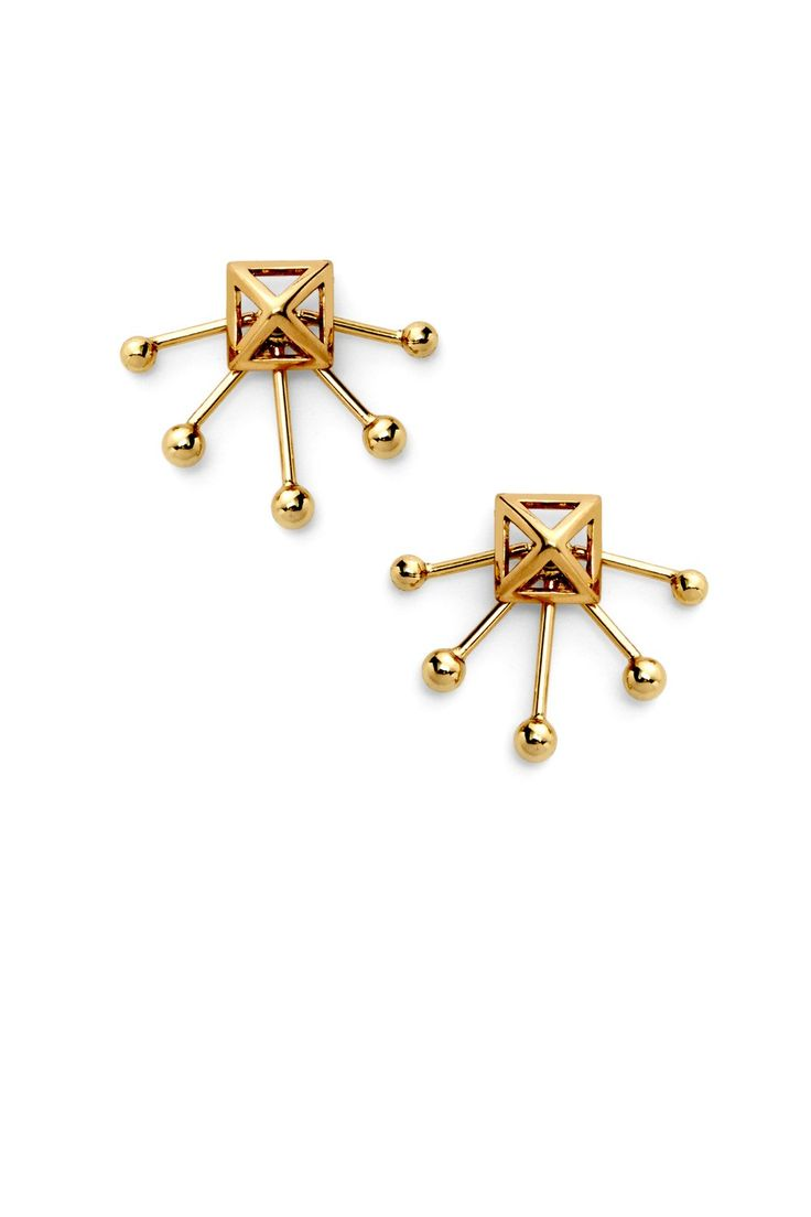 Pyramid Fan Stud Earring - Add a touch of shine to your look with these art…