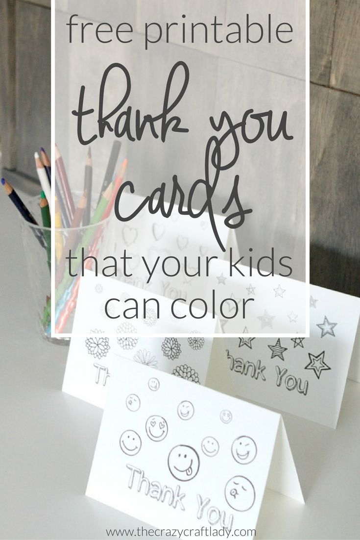 Printable Thank You Card Coloring Sheets - free printable coloring sheets for kids from The Crazy Craft Lady