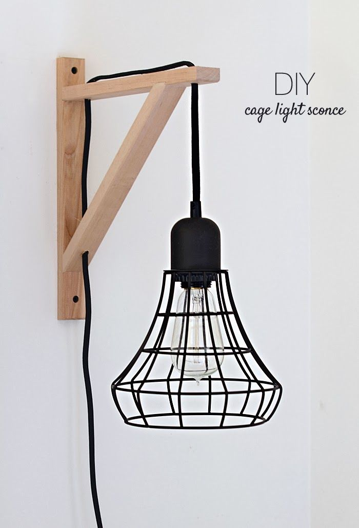 DIY: Cage light sconce // Ikea shelving piece!