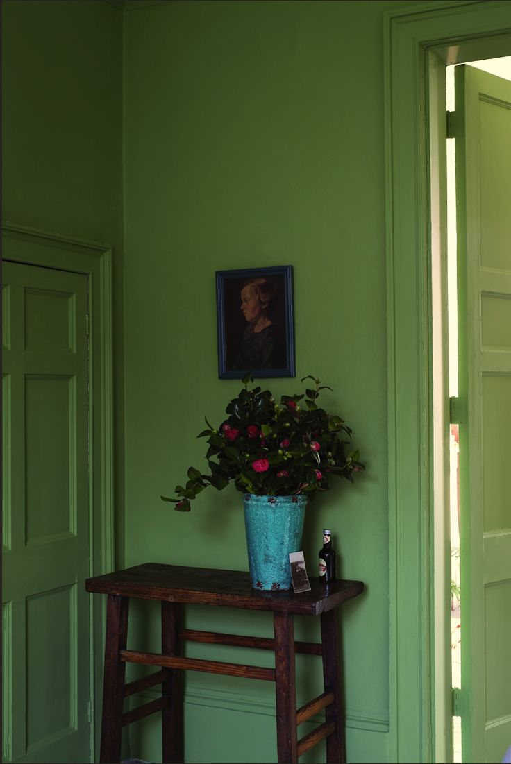 Farrow and Ball's Yeabridge Green is nearest Benjamin Moore's Forest Hills Green 433.  Thanks to Laurel Bern Interiors.