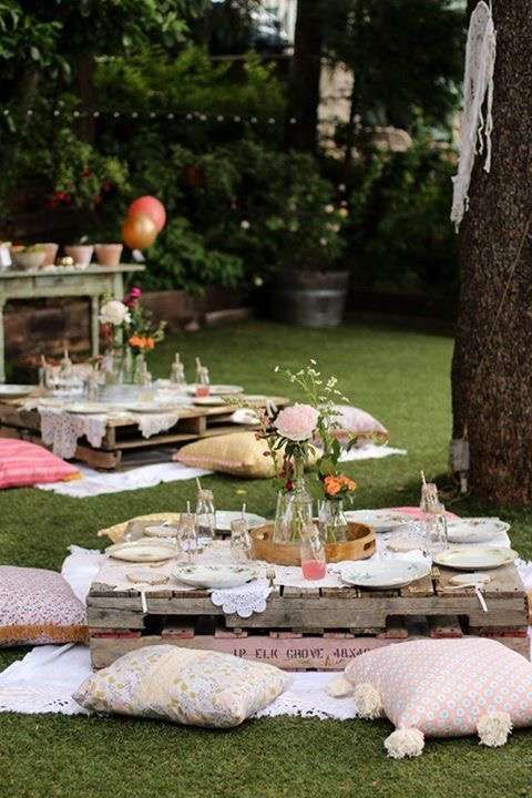 Amali. Love pallet tables, cushions, rugs, string lights, dream catchers, glass bottles (use mason jars), doilies, fresh florals...