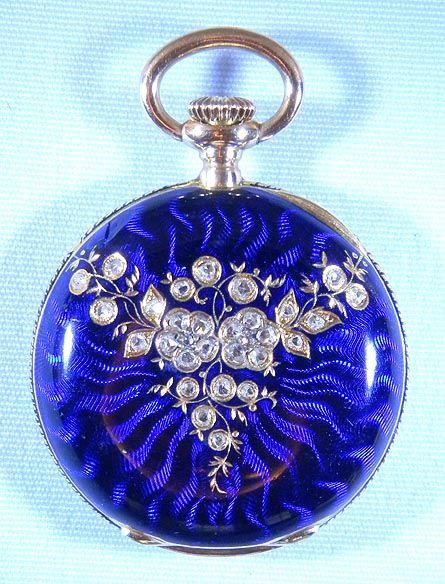 Tiffany 18K gold, diamond and enamel ladies antique pendant watch circa 1890.