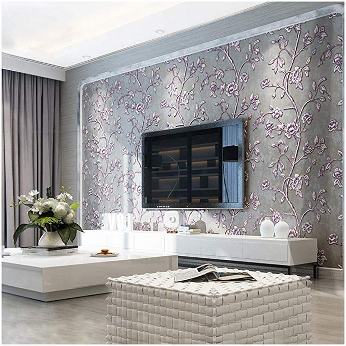 Qihang Modern Simple 3d Thick Non Woven Embossed Tree Flowers Pattern Living Room Wallpaper Roll Purple G Wallpaper Living Room Modern Room Living Room Tv Wall