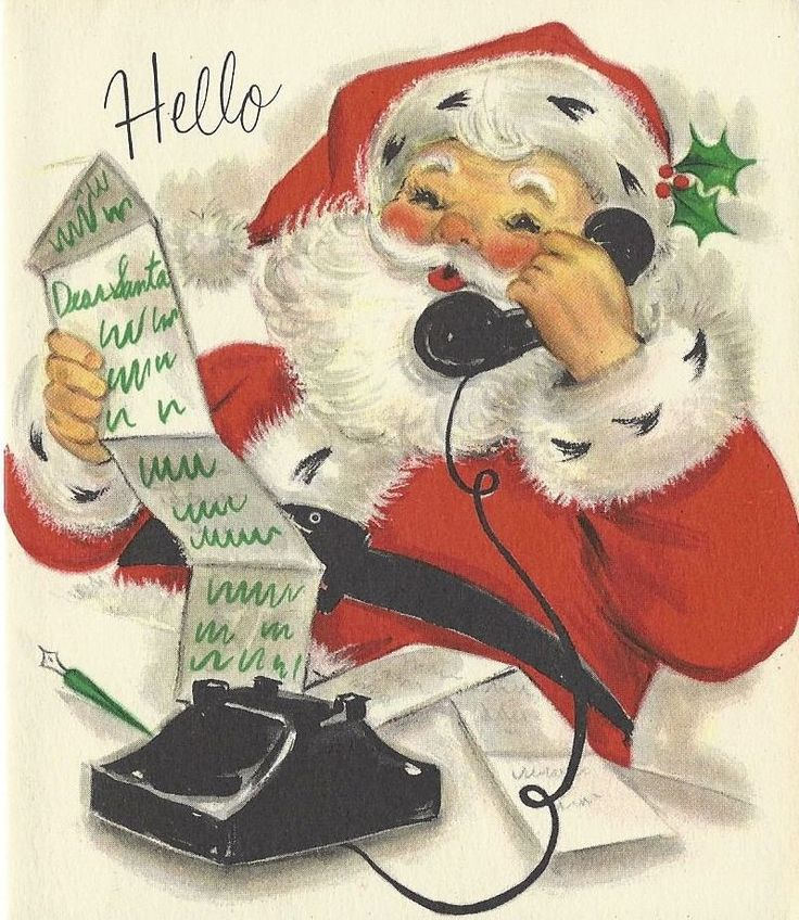 Unused Vintage Christmas Card, Hallmark, Santa Claus on Telephone Reading Letter