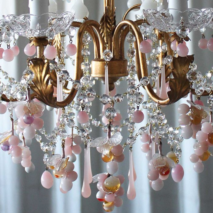 Murano Chandeliers for Sale   Pink & white Murano glass 6 light grape chandelier - sale price