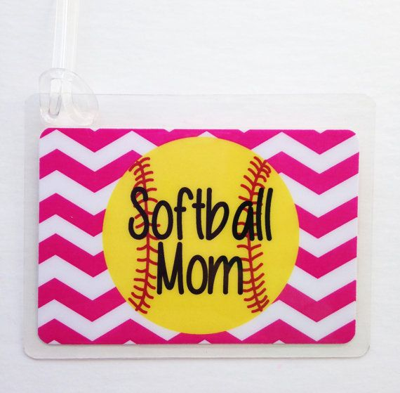 Softball Mom Bag Tag Softball Bag Tag Chevron by Toddletags