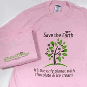 "Save the Earth Light Pink Shirt -   This light pink t-shirt features our newest slogan ""Save the Earth....It's the only planet with chocolate & ice cream"" on the front. On the back of the shirt below the collar it reads ""Dietsch Brothers, Fine Chocolates & Ice Cream Since 1937, Findlay, Ohio"" in small print. This shirt is made of 50% cotton, 50% polyester for easy wear and care. $15.25"