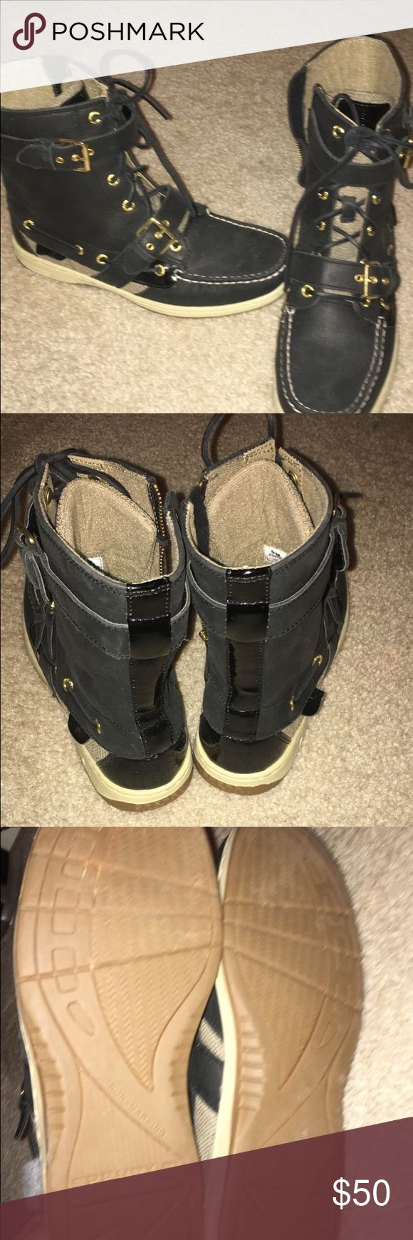Black sperry boots Never worn but no tags Sperry Top-Sider Shoes Combat & Moto Boots