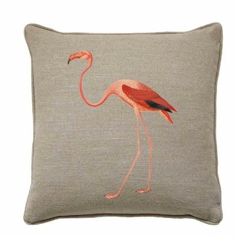 Flamingo cushion, natural linen, pad included