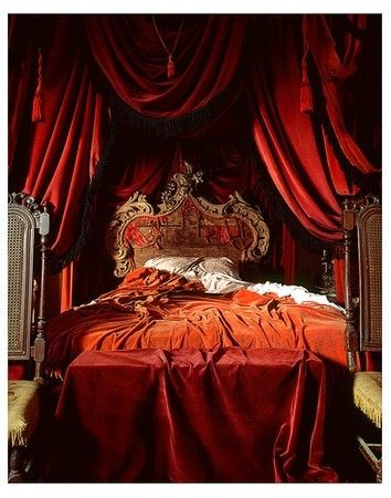 LOVE THE RED AND ORANGE COLORS AND STYLE OF THIS MASTER BEDROOM.KEEPER.CHERIE