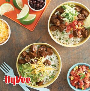 If the kids like to help in the kitchen, but find rolling burritos to be difficult, make Burrito Bowls! Set out lots of toppings so everyone can customize their bowl.