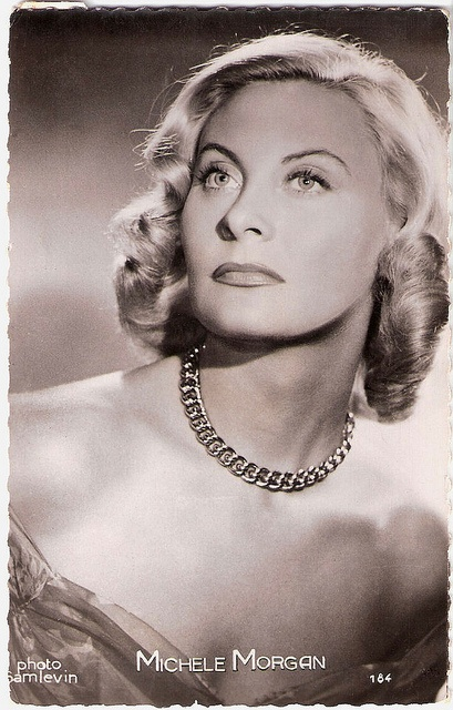 """""""Blonde French actress Michèle Morgan (1920) was a classic beauty. She has been one of her country's most popular leading ladies for over five decades. The delicate, sophisticated, and detached star was especially noted for her large, expressive eyes."""" #vintage #French #actress #1950s #movies #films"""
