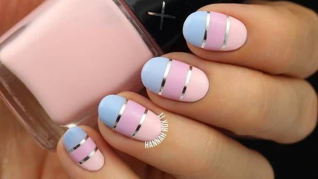 احدث الوان مناكير باستيل و بنفسجي و فضي و سماوي 2019 Latest Nail Polish Pastel Violet Silver And Cyan Color Block Nails Pastel Nails Trendy Nail Art