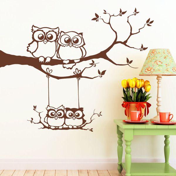 Wandtattoo Vier Eulen auf Baum mit Schaukel Gr.XL von Wandtattoo-Loft auf DaWanda.com