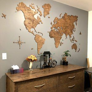 Christmas Wooden World Map Wood Large Wall Art Rustic Decor Custom Map of the World Push Pin Travel Wanderlust Gift Living Room Wall Decor