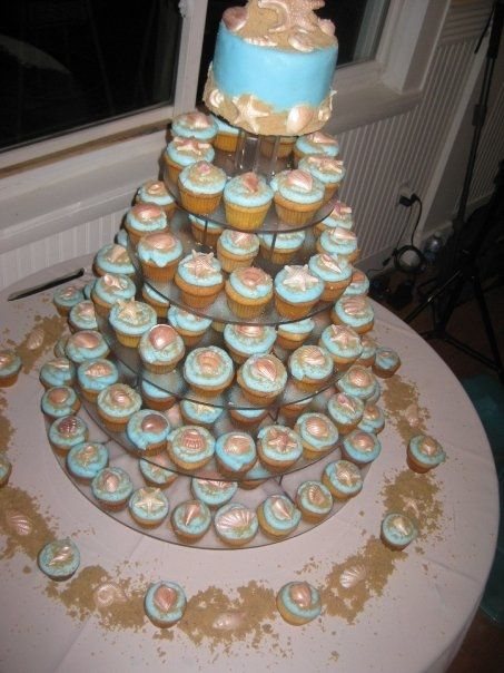 Beach Theme Wedding Cupcake Tower Mini Cakes Petit