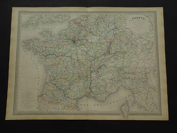 FRANCE old map of France LARGE 1858 original antique hand