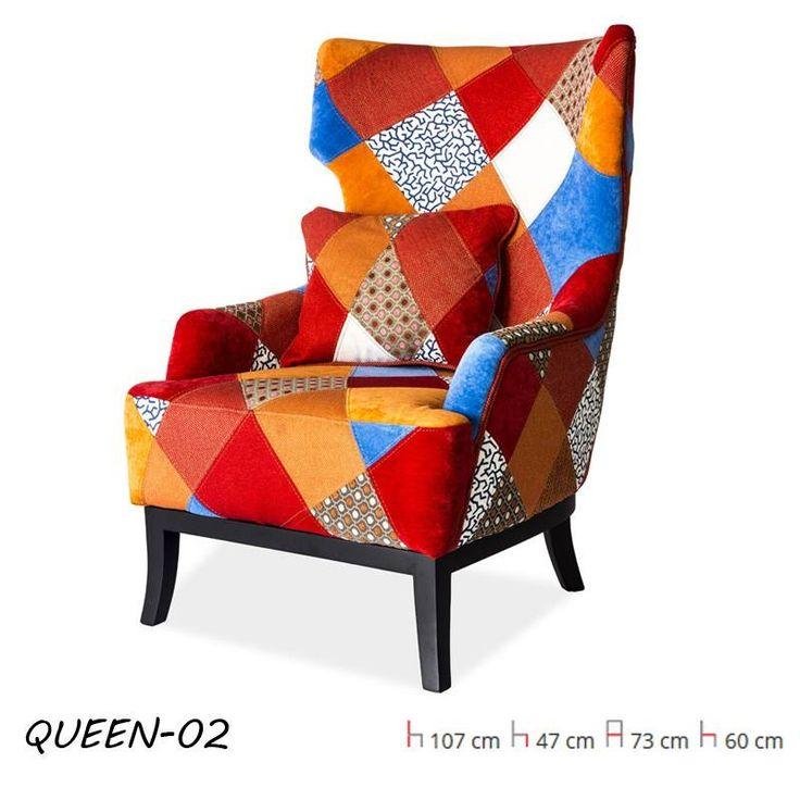 Queen Fotel Patchwork Queen nagy méretű füles fotel. Szövet üléskárpit, szín: patchwork / fa keret.
