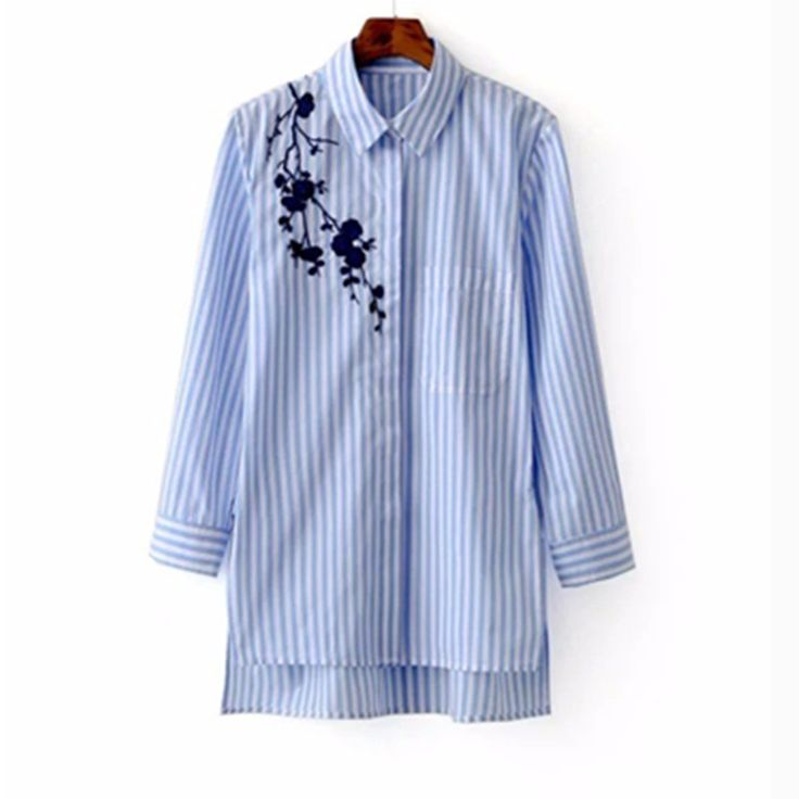 Striped Long Sleeve Shirt Turn-down Collar //Price: $18.99 & FREE Shipping //     #hashtag3