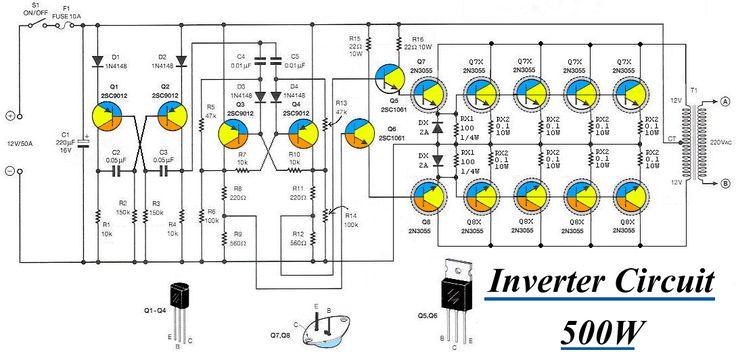 Inverter 12VDC to 220V 50Hz 500W