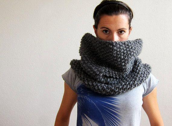 100% wool cowl / shawl / snood in Dark Grey. €59.00, via Etsy.