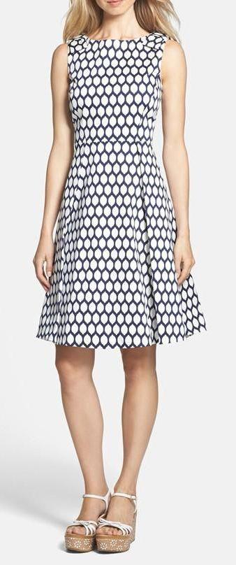 kate spade new york kendrick print cotton blend fit & flare dress